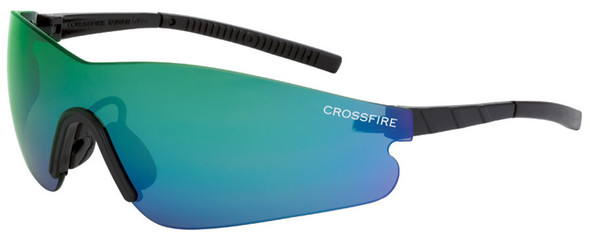Crossfire Blade Safety Glasses with Black Temples and Emerald Mirror Lens