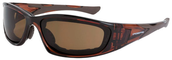 Crossfire MP7 Foam Lined Safety Glasses with Crystal Brown Frame and HD Brown Anti-Fog Lens