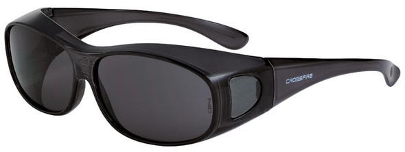 Crossfire OG3 OTG Safety Glasses with Crystal Black Frame and Large Smoke Lens