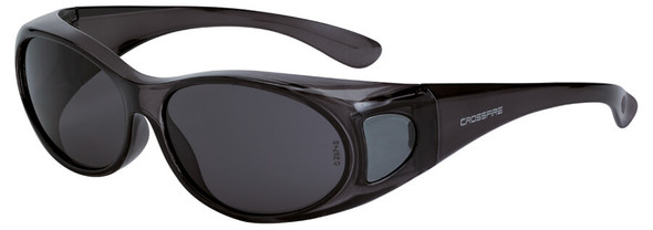 Crossfire OG3 OTG Safety Glasses with Crystal Black Frame and Smoke Lens