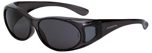Crossfire OG3 OTG Safety Glasses with Crystal Black Frame and Smoke Lens