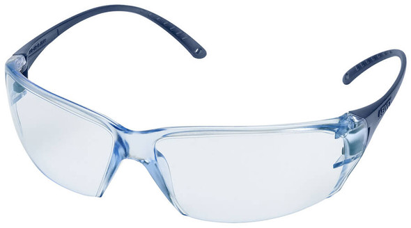 Elvex Helium 18 Ultralight Safety Glasses with Blue Lens and Metal Detectable Temples