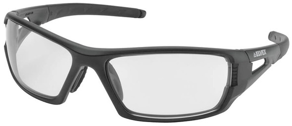 Elvex Rimfire Safety Glasses with Matte Black Frame and Clear Lens