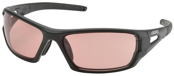 Elvex Rimfire Safety Glasses with Matte Black Frame and Light Copper Anti-Fog Lens