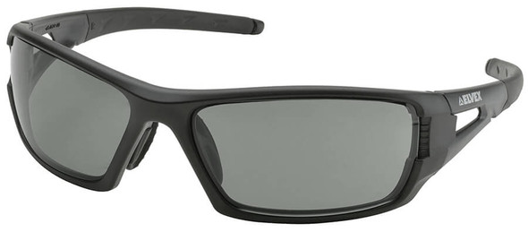 Elvex Rimfire Safety Glasses with Matte Black Frame and Polarized Gray Lens