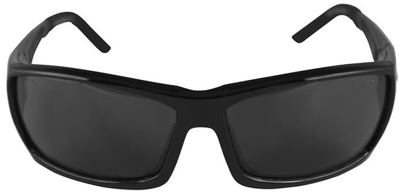 Edge Mazeno Slim Fit Safety Glasses with Black Frame and Smoke Lens - Front