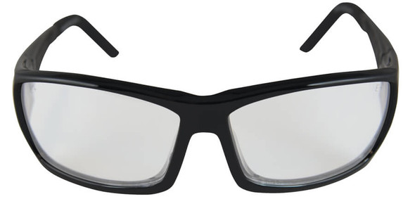 Edge Mazeno Slim Fit Safety Glasses with Black Frame and Clear Lens - Front