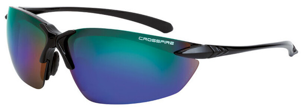Crossfire Sniper Safety Glasses with Shiny Black Frame and Emerald Mirror Lens 9610