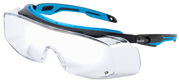 Bolle Tryon Safety OTG Glasses with Black & Blue Frame and Clear Platinum Anti-Fog Lens 40306