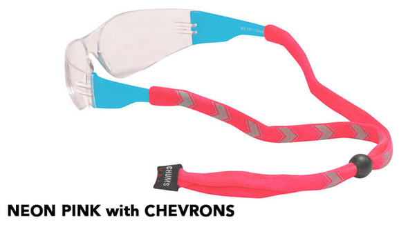 Chums Reflective Original Cotton Eyewear Retainer - Neon Pink with Chevrons
