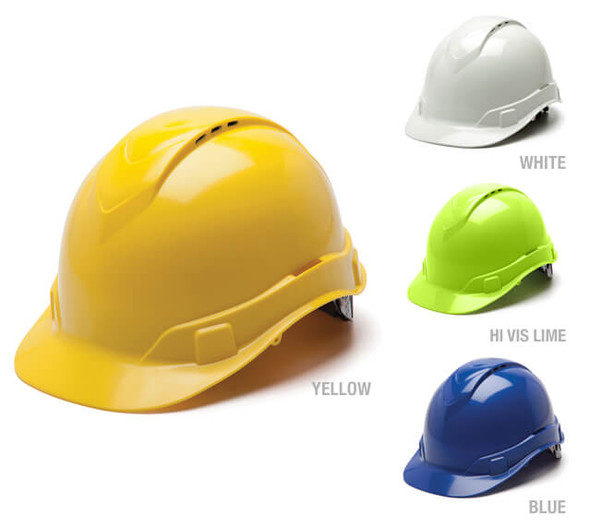 Pyramex Ridgeline Cap Style Vented Hard Hat with 4-Point Ratchet Suspension