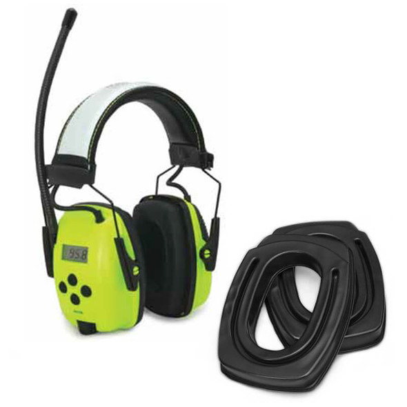 SightLines Ear Cushions & Howard Leight Sync Hi-Viz Digital Radio Earmuff Bundle