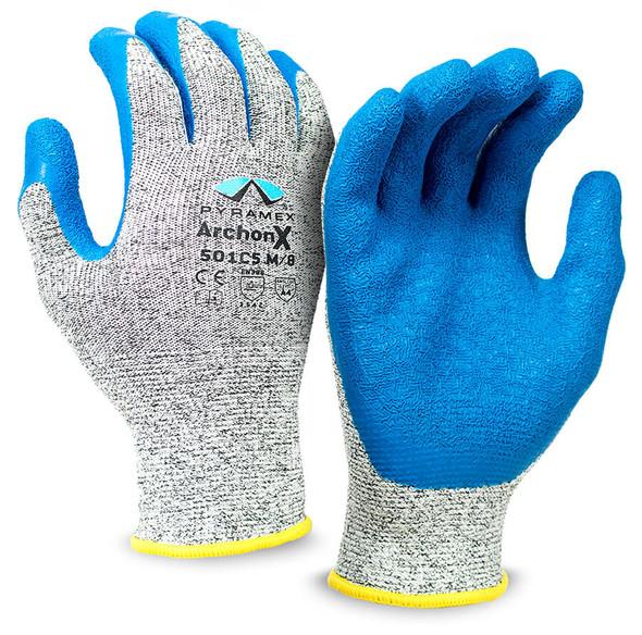 Pyramex GL501C5 Series Cut-Resistant Crinkle Latex Gloves