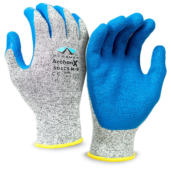 Pyramex GL501C5 Series Cut-Resistant Crinkle Latex Gloves