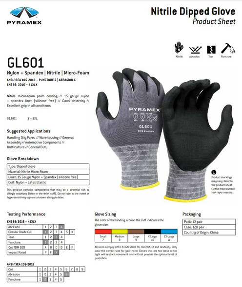 Pyramex GL601 Series Micro-Foam Nitrile Gloves Key Features