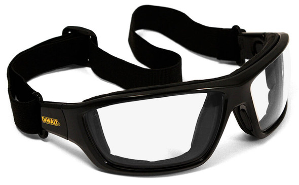 DeWalt Converter Safety Glasses/Goggles with Black Frame and Clear Anti-Fog Lens - With Goggle Strap