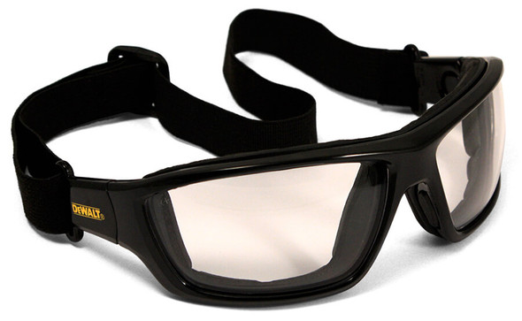 DeWalt Converter Safety Glasses/Goggles with Black Frame and Indoor-Outdoor Anti-Fog Lens - With Goggle Strap DPG83-91