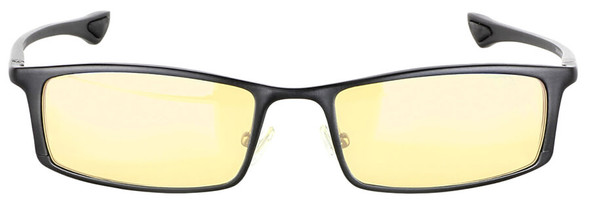 Gunnar Phenom Computer Reading Glasses with Onyx Frame and Amber Lens - Front