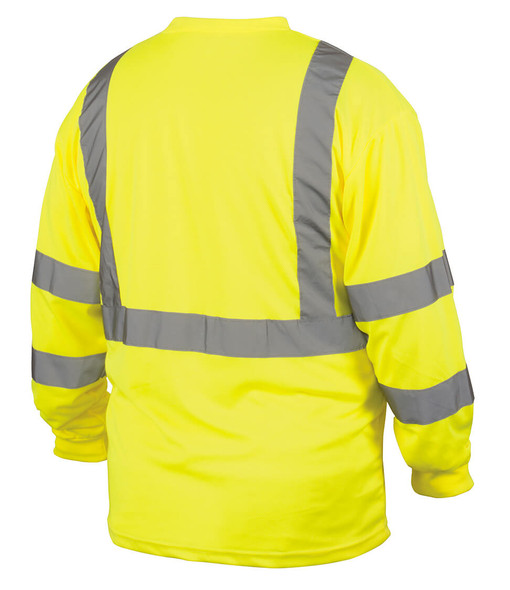 Pyramex RLTS31B Class 3 Hi-Viz Lime Long Sleeve Safety T-Shirt - Back