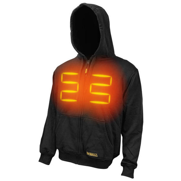 DeWalt DCHJ067B Unisex Black Heated Hoodie Sweatshirt Bare Front Heat Zone