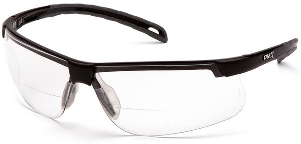 Pyramex Ever-Lite Bifocal Safety Glasses with Black Frame and Clear Lens