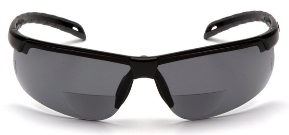 Pyramex Ever-Lite Bifocal Safety Glasses with Black Frame and Gray Lens - Front