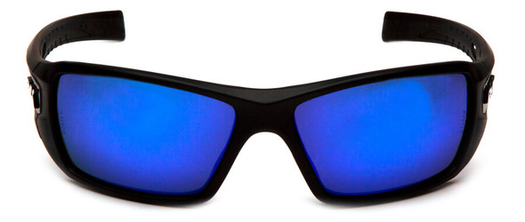 Pyramex Velar Safety Glasses with Black Frame and Ice Blue Mirror Lens - Front