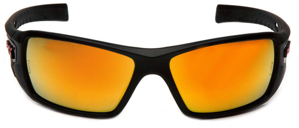 Pyramex Velar Safety Glasses with Black Frame and Ice Orange Mirror Lens - Front