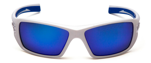 Pyramex Velar Safety Glasses with White/Blue Frame and Ice Blue Mirror Lens - Front