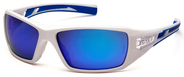 Pyramex Velar Safety Glasses with White/Blue Frame and Ice Blue Mirror Lens SWBL10465D