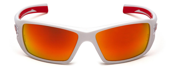 Pyramex Velar Safety Glasses with White/Red Frame and Sky Red Mirror Lens - Front