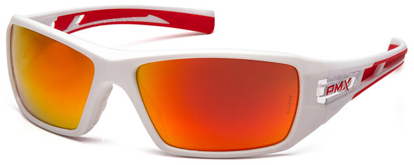 Pyramex Velar Safety Glasses with White/Red Frame and Sky Red Mirror Lens SWR10455D