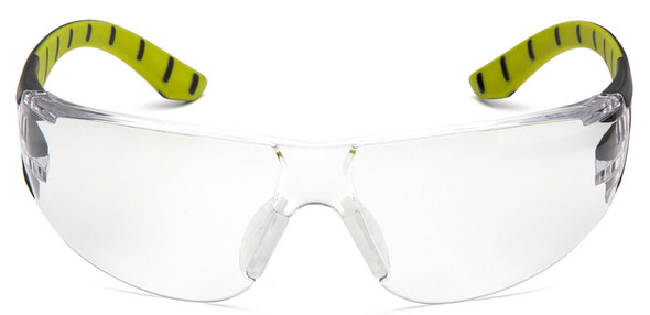 Pyramex Endeavor Plus Safety Glasses with Black/Green Temples and Clear Lens - Front