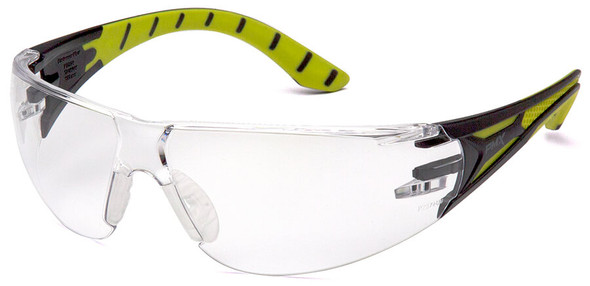 Pyramex Endeavor Plus Safety Glasses with Black/Green Temples and Clear Lens
