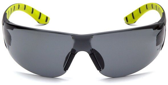 Pyramex Endeavor Plus Safety Glasses with Black/Green Temples and Gray Lens - Front