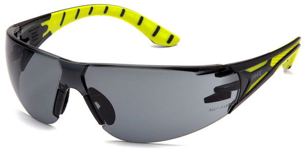 Pyramex Endeavor Plus Safety Glasses with Black/Green Temples and Gray Lens