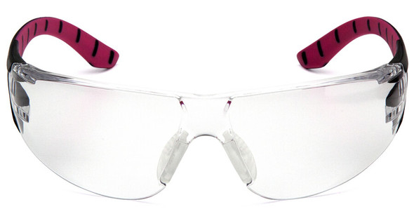 Pyramex Endeavor Plus Safety Glasses with Black/Pink Temples and Clear Lens - Front