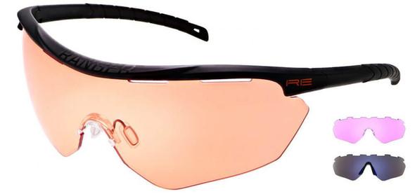 Randolph Phantom 2.0 Shooting Glasses with Black Frame and HD Medium, Dark Purple and Blue Ice Lenses