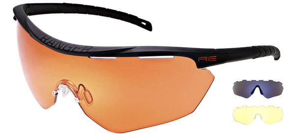 Randolph Phantom 2.0 Shooting Glasses with Black Frame and Modified Brown, Medium Yellow and Blue Ice Lenses