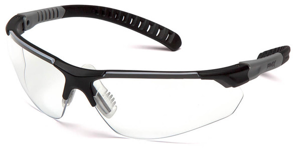 Pyramex Sitecore Safety Glasses with Black/Gray Frame and Clear H2MAX Anti-Fog Lens