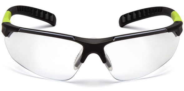 Pyramex Sitecore Safety Glasses with Gray/Lime Frame and Clear Anti-Fog Lens - Front