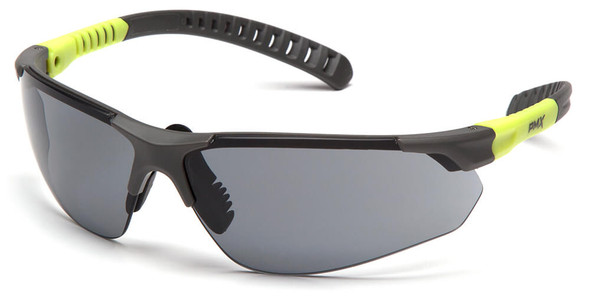 Pyramex Sitecore Safety Glasses with Gray/Lime Frame and Gray Lens