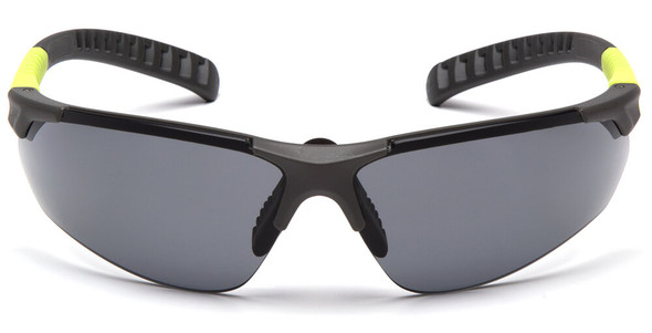 Pyramex Sitecore Safety Glasses with Gray/Lime Frame and Gray Anti-Fog Lens - Front
