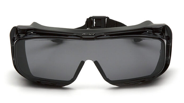 Pyramex Cappture S9920STMRG Safety Glasses with Gasket and H2X Gray Anti-Fog Lens - Front