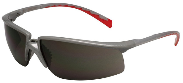 3M Privo Safety Glasses with Silver/Red Frame and Gray Anti-Fog Lens 12266