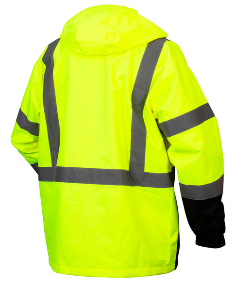 Pyramex RP31 Type R Class 3 Waterproof Parka Hi-Vis Lime - Back
