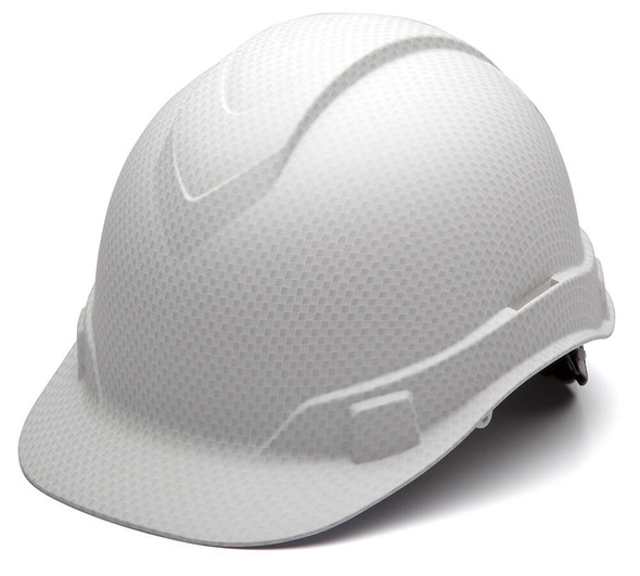 Pyramex Ridgeline Cap Style Hard Hat with 4-Point Ratchet Suspension - Matte White Graphite Pattern