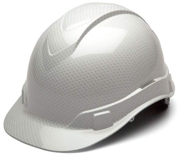 Pyramex Ridgeline Cap Style Hard Hat with 4-Point Ratchet Suspension - Shiny White Graphite Pattern