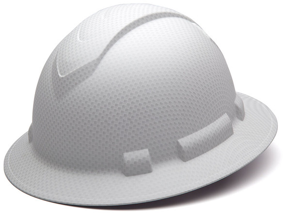 Pyramex Ridgeline Full Brim Hard Hat with 4-Point Ratchet Suspension - Matte White Graphite Pattern