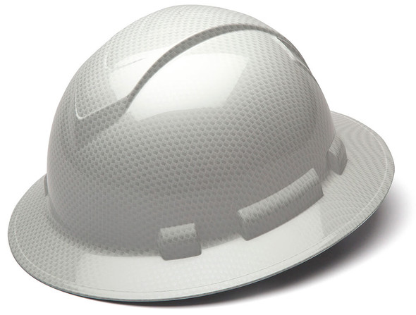 Pyramex Ridgeline Full Brim Hard Hat with 4-Point Ratchet Suspension - Shiny White Graphite Pattern